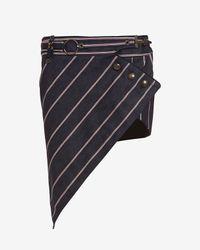 Anthony Vaccarello | Blue Three Button Stripe Skirt | Lyst