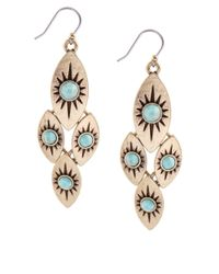 Lucky Brand | Metallic Gold-tone Turquoise Quad Drop Earrings | Lyst