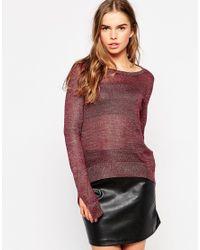 Vero Moda - Red Light Knit Long Sleeve Sweater - Lyst