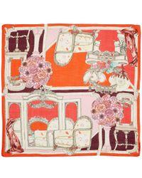 Swash London - Red Florian Interior Silk Scarf - Lyst