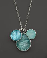 "Ippolita Metallic Sterling Silver Wonderland 3 Stone Pendant Necklace In Tahiti, 32"""