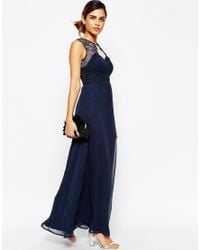 Elise Ryan | Blue Ruched Bodice Maxi Dress With Eyelash Lace Trim | Lyst