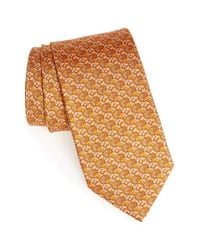 Ferragamo | Orange Horse Print Silk Tie for Men | Lyst