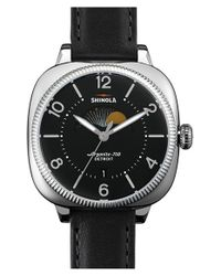 Shinola Black 'gomelsky' Square Moon Phase Leather Strap Watch