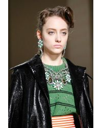 Miu Miu | Green Crystal-embellished Necklace | Lyst