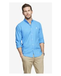 Express Blue Fitted Oxford Shirt for men