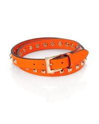 Valentino Orange Studded Wrap Bracelet for men