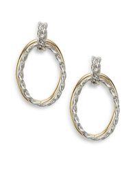 Ak Anne Klein | Metallic Two-tone Two-hoop Drop Earrings | Lyst
