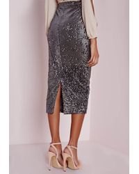 Missguided - Gray Longline Velvet Sequin Midi Skirt Grey - Lyst