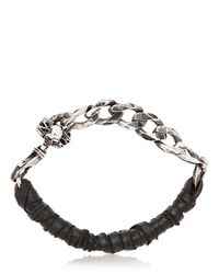 Emanuele Bicocchi | Metallic Woven Leather Silver Chain Bracelet for Men | Lyst