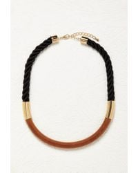 Forever 21 - Metallic Wood And Rope Collar Necklace - Lyst