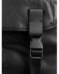 Lanvin Black Leather And Textured-Fabric Backpack for men