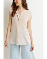 Forever 21 | Pink Contemporary Crepe Popover Blouse | Lyst