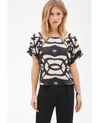 Forever 21 | Black Contemporary Abstract Shadow Print Blouse | Lyst