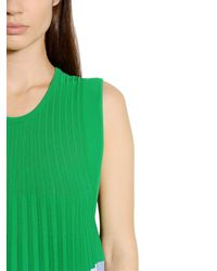 Mrz - Green Pleated Color Block Viscose Dress - Lyst