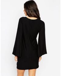 ASOS | Black Caped Sleeve Dress | Lyst