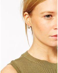 ASOS - Metallic Gold Plated Sterling Silver Mini Spike Hoop Earrings - Lyst