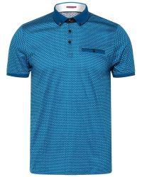 Ted Baker Blue Jazie Geometric Print Polo Shirt for men