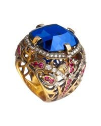 Queensbee | Blue Square Flower Ring | Lyst