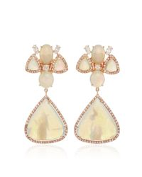 Nina Runsdorf - Multicolor White Opal And Fancy Diamond Earrings - Lyst