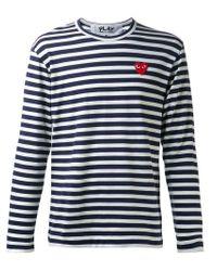 Play Comme des Garçons White Striped T-Shirt for men