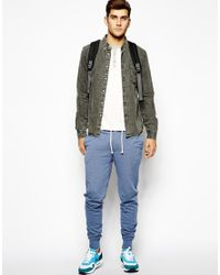 ASOS Blue Skinny Joggers With Zip Fly And Button Detail for men