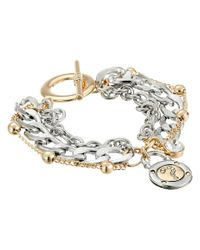 Guess | Metallic Multiple Chain Toggle Bracelet With Logo Charm | Lyst