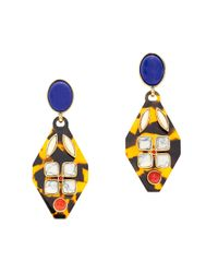 J.Crew - Blue Tortoise and Stone Earrings - Lyst