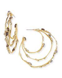 Alexis Bittar | Metallic Crystal Lace Hoop Earrings | Lyst