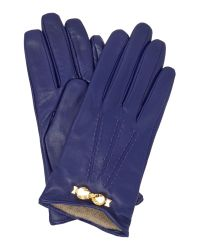 Ted Baker | Blue Bowra Metal Bow Leather Glove | Lyst