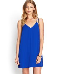 Forever 21 Blue V-neck Shift Dress