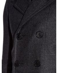 Saint Laurent Gray Double-breasted Checked Wool-blend Coat for men