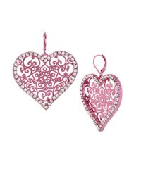 Betsey Johnson | Pink Filigree Heart Drop Earrings | Lyst