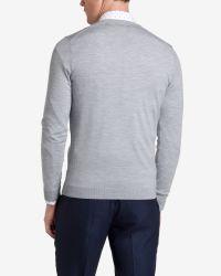 Ted Baker - Gray Merino Wool V-Neck Jumper for Men - Lyst