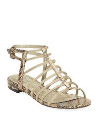 Adrianna Papell | Metallic Lafayette Python Print Sandals | Lyst