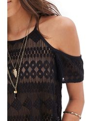 Forever 21 Black Open-shoulder Lace Halter Top You've Been Added To The Waitlist