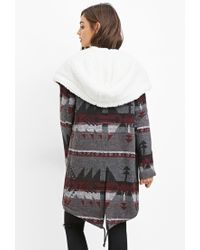 Forever 21   Gray Geo-patterned Faux Shearling Jacket   Lyst