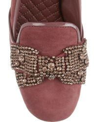 Tory Burch Purple Carissa Embellished Suede Pumps
