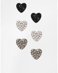 Lipsy - Black Crystal Heart Stud Trio Pack Earrings - Lyst