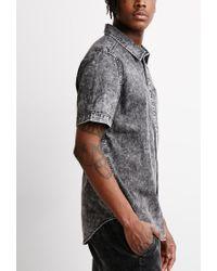 Forever 21 - Black Acid Wash Denim Shirt for Men - Lyst