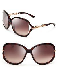 Jimmy Choo Brown Oversized Loop Chain Sunglasses