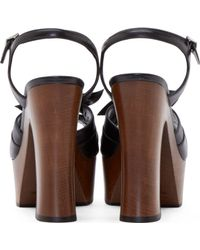 Saint Laurent Black Leather And Wood Candy Platform Heels