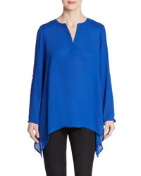 Chaus New York | Blue Roll-tab Blouse | Lyst