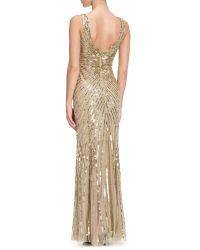 Aidan Mattox Metallic Long Beaded Dress
