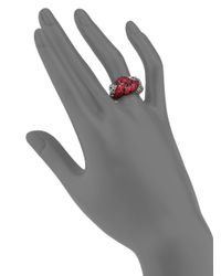 John Hardy - Classic Chain Red Sapphire Sterling Silver Braided Ring - Lyst