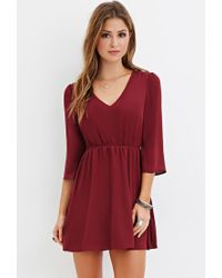 Forever 21 | Purple V-neck Mini Dress | Lyst