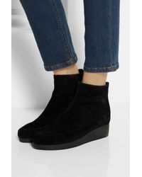 Robert Clergerie Black Nagil Suede Wedge Ankle Boots