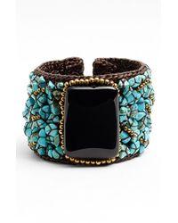 Panacea | Howlite & Glass Cuff Bracelet - Turquoise Black | Lyst