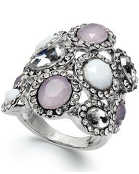 INC International Concepts | Metallic Silver-Tone Multi-Stone Stretch Ring | Lyst