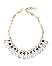 Ann Taylor | Metallic Rectangle Stone Statement Necklace | Lyst